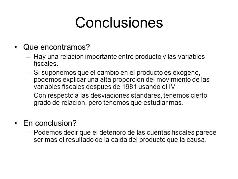 Conclusiones Que encontramos. –Hay una relacion importante entre producto y las variables fiscales.