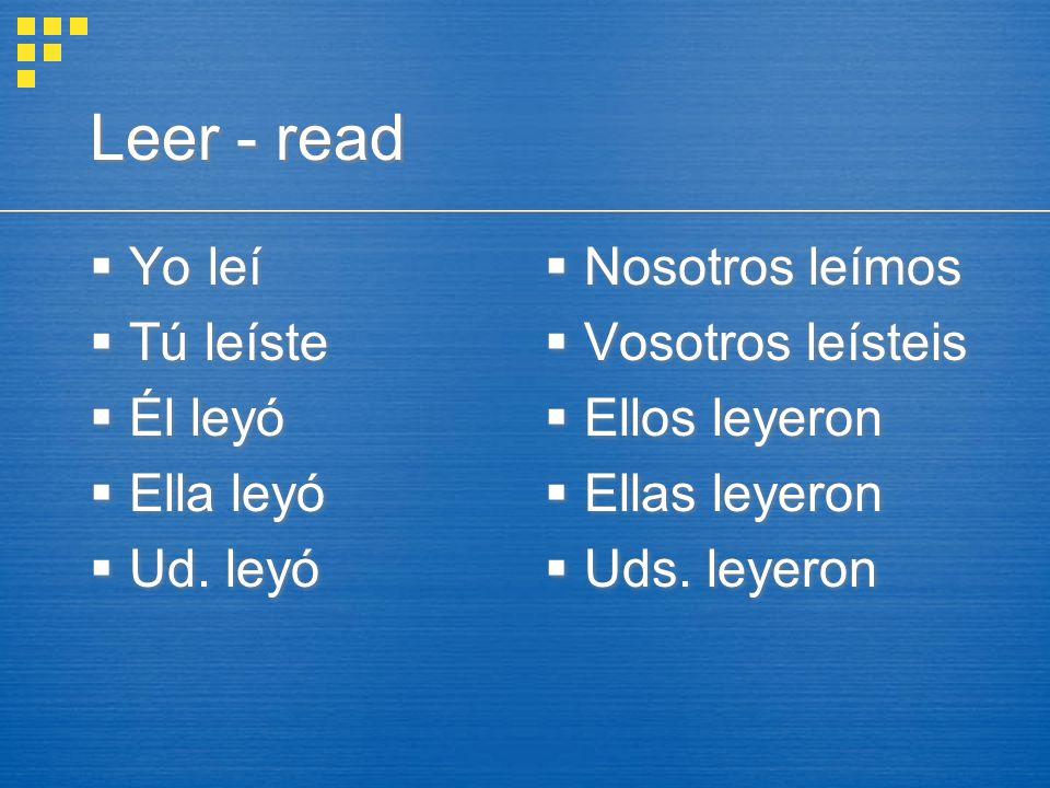 Leer - read  Yo leí  Tú leíste  Él leyó  Ella leyó  Ud.