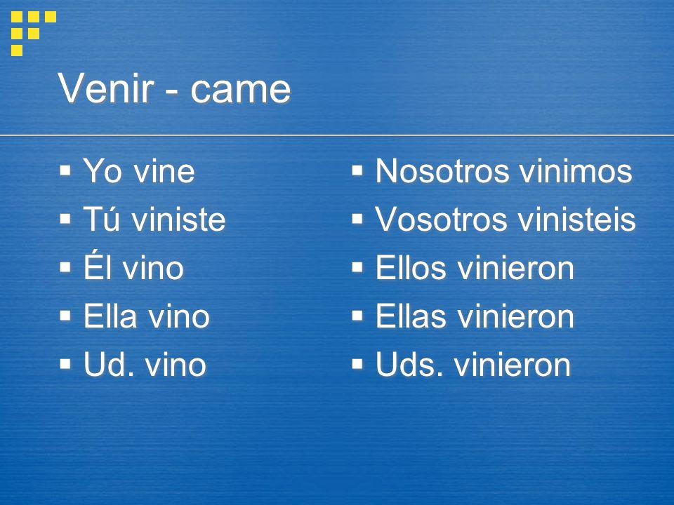 Venir - came  Yo vine  Tú viniste  Él vino  Ella vino  Ud.