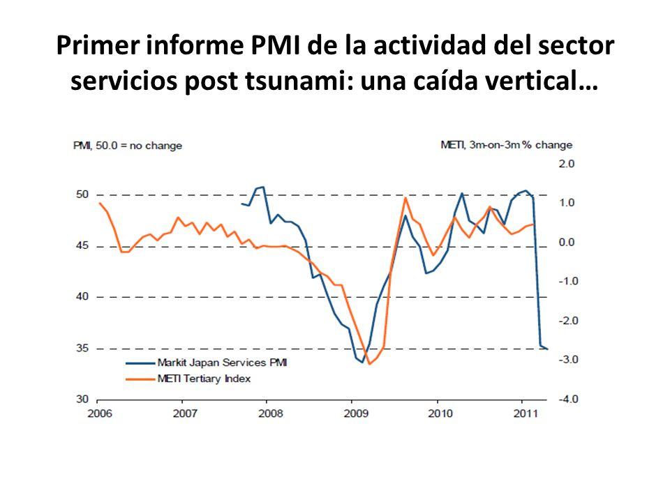 Primer informe PMI de la actividad del sector servicios post tsunami: una caída vertical…
