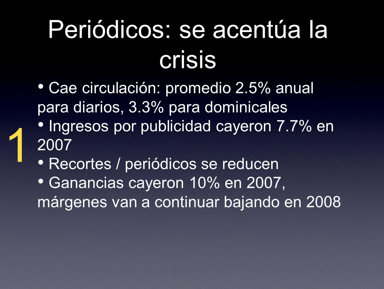 Periódicos: se acentúa la crisis 1 Cae circulación: promedio 2.5% anual para diarios, 3.3% para dominicales Ingresos por publicidad cayeron 7.7% en 2007 Recortes / periódicos se reducen Ganancias cayeron 10% en 2007, márgenes van a continuar bajando en 2008