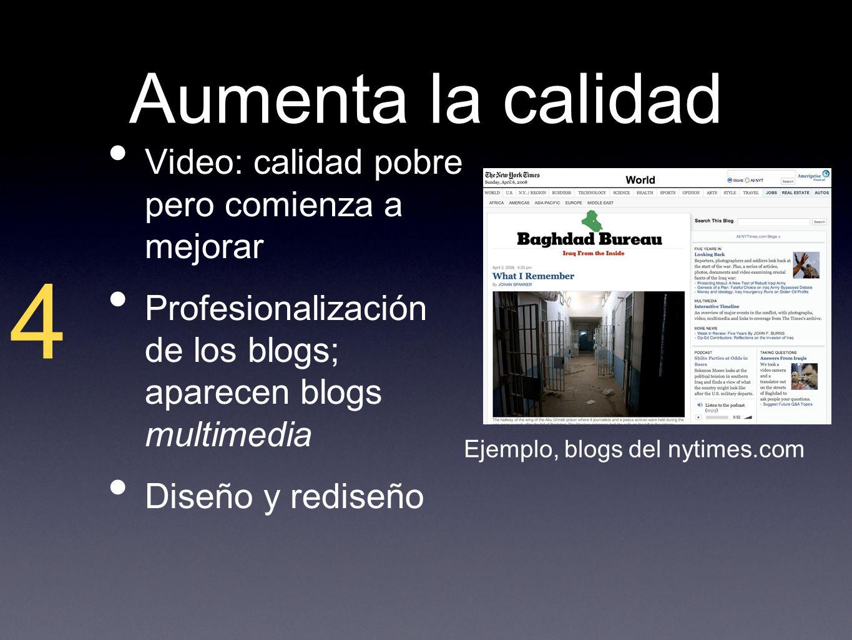 Aumenta la calidad Video: calidad pobre pero comienza a mejorar Profesionalización de los blogs; aparecen blogs multimedia Diseño y rediseño 4 Ejemplo, blogs del nytimes.com