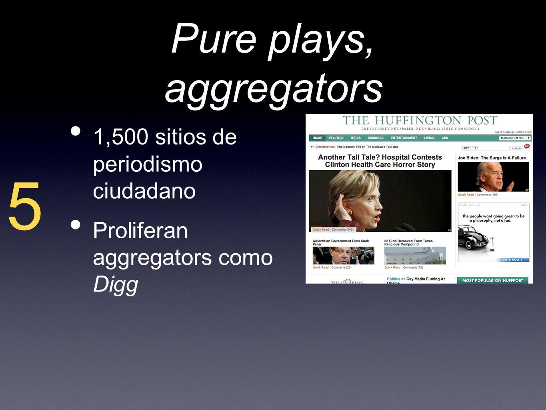 Pure plays, aggregators 1,500 sitios de periodismo ciudadano Proliferan aggregators como Digg 5