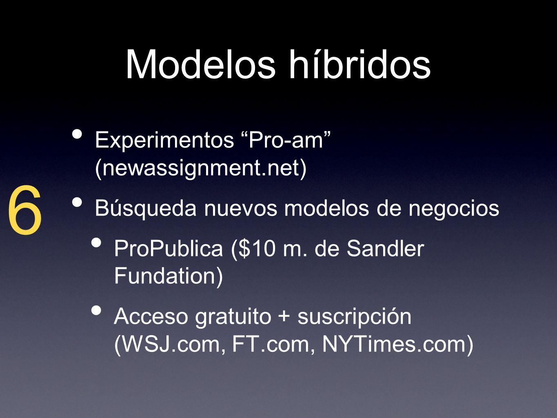 Modelos híbridos Experimentos Pro-am (newassignment.net) Búsqueda nuevos modelos de negocios ProPublica ($10 m.