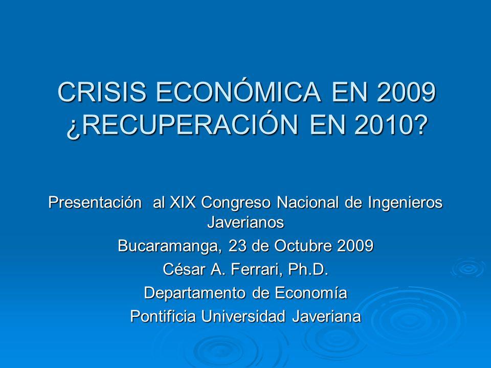 CRISIS ECONÓMICA EN 2009 ¿RECUPERACIÓN EN 2010.