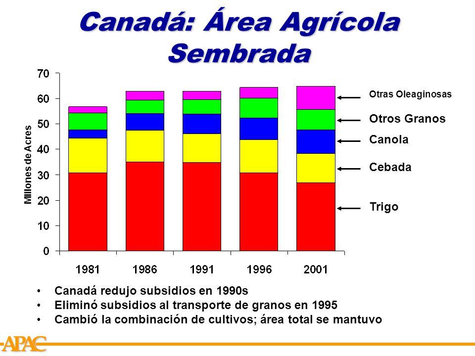 APCA Canadá: Área Agrícola Sembrada Millones de Acres Trigo Cebada Canola Otros Granos Otras Oleaginosas Canadá redujo subsidios en 1990s Eliminó subsidios al transporte de granos en 1995 Cambió la combinación de cultivos; área total se mantuvo