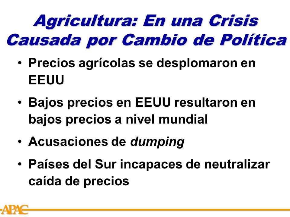 APCA Agricultura: En una Crisis Causada por Cambio de Política Precios agrícolas se desplomaron en EEUU Bajos precios en EEUU resultaron en bajos precios a nivel mundial Acusaciones de dumping Países del Sur incapaces de neutralizar caída de precios