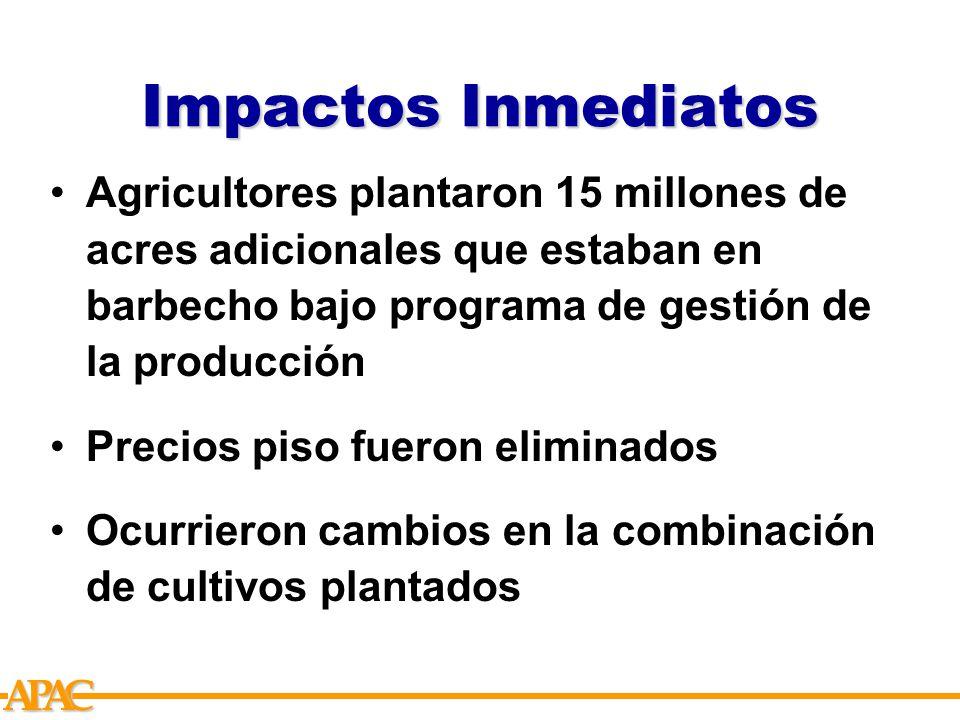 APCA Impactos Inmediatos Agricultores plantaron 15 millones de acres adicionales que estaban en barbecho bajo programa de gestión de la producción Precios piso fueron eliminados Ocurrieron cambios en la combinación de cultivos plantados