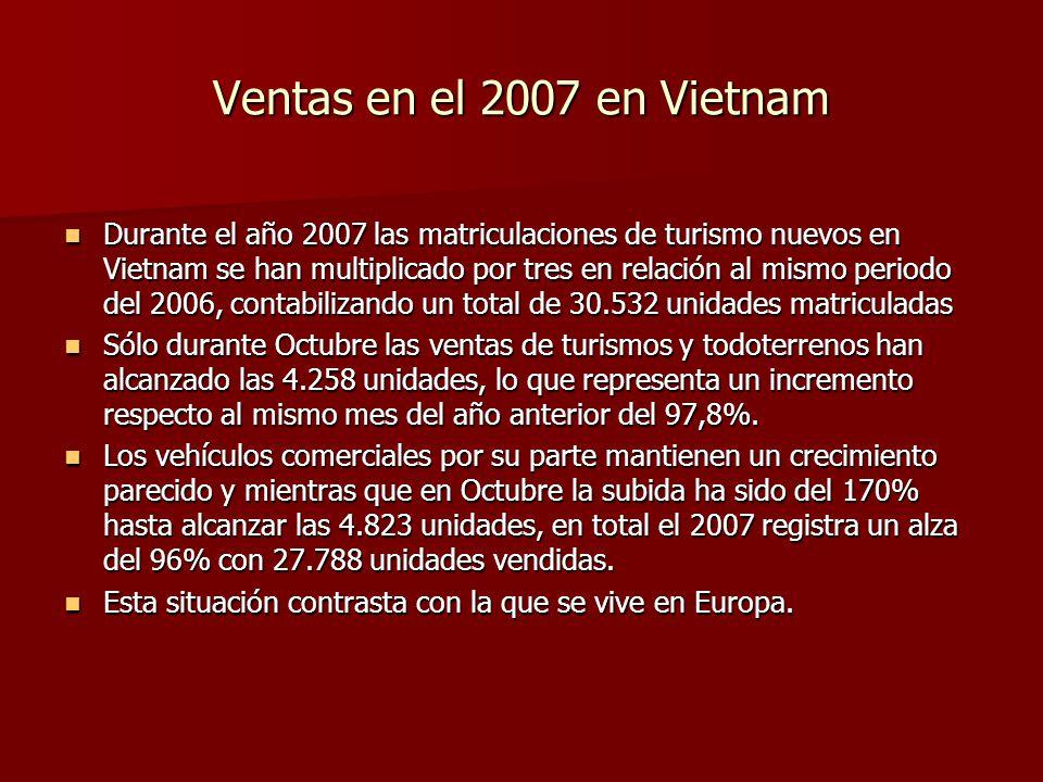 Ventas en el 2007 en Vietnam Durante el año 2007 las matriculaciones de turismo nuevos en Vietnam se han multiplicado por tres en relación al mismo periodo del 2006, contabilizando un total de 30.532 unidades matriculadas Durante el año 2007 las matriculaciones de turismo nuevos en Vietnam se han multiplicado por tres en relación al mismo periodo del 2006, contabilizando un total de 30.532 unidades matriculadas Sólo durante Octubre las ventas de turismos y todoterrenos han alcanzado las 4.258 unidades, lo que representa un incremento respecto al mismo mes del año anterior del 97,8%.