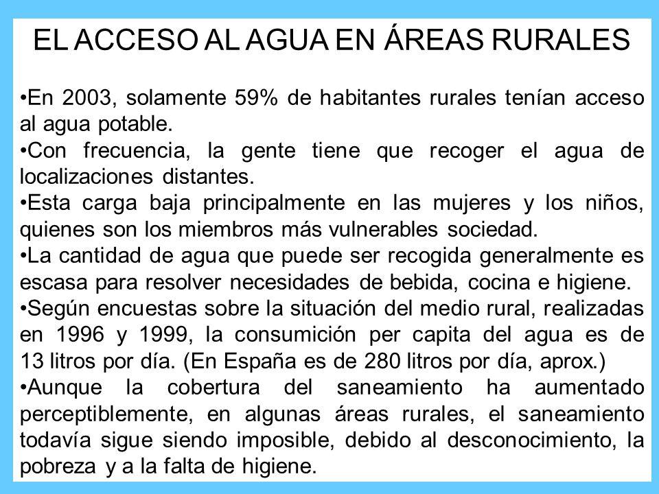EL ACCESO AL AGUA EN ÁREAS RURALES En 2003, solamente 59% de habitantes rurales tenían acceso al agua potable.