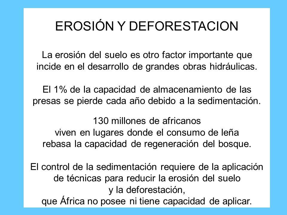 EROSIÓN Y DEFORESTACION La erosión del suelo es otro factor importante que incide en el desarrollo de grandes obras hidráulicas.