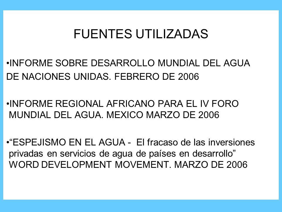 FUENTES UTILIZADAS INFORME SOBRE DESARROLLO MUNDIAL DEL AGUA DE NACIONES UNIDAS.
