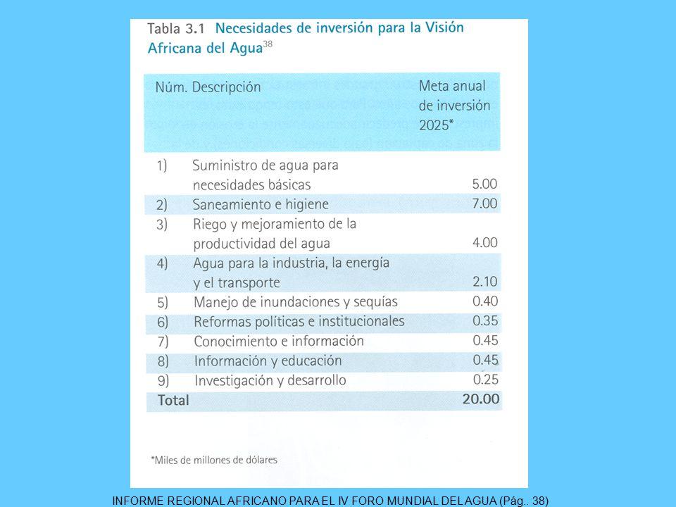 INFORME REGIONAL AFRICANO PARA EL IV FORO MUNDIAL DEL AGUA (Pág.. 38)