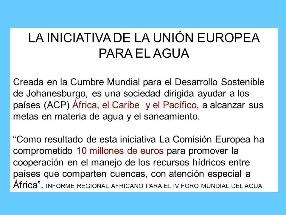 LA INICIATIVA DE LA UNIÓN EUROPEA PARA EL AGUA Creada en la Cumbre Mundial para el Desarrollo Sostenible de Johanesburgo, es una sociedad dirigida ayudar a los países (ACP) África, el Caribe y el Pacífico, a alcanzar sus metas en materia de agua y el saneamiento.
