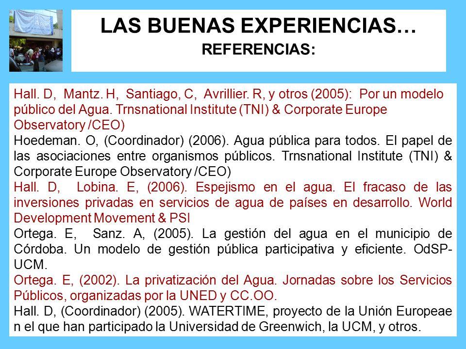 Hall. D, Mantz. H, Santiago, C, Avrillier. R, y otros (2005): Por un modelo público del Agua.