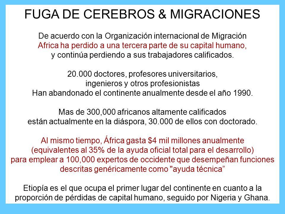 FUGA DE CEREBROS & MIGRACIONES De acuerdo con la Organización internacional de Migración Africa ha perdido a una tercera parte de su capital humano, y continúa perdiendo a sus trabajadores calificados.
