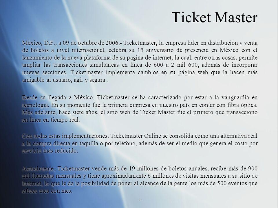 Ticket Master México, D.F., a 09 de octubre de 2006.- Ticketmaster, la empresa líder en distribución y venta de boletos a nivel internacional, celebra su 15 aniversario de presencia en México con el lanzamiento de la nueva plataforma de su página de internet, la cual, entre otras cosas, permite ampliar las transacciones simultáneas en línea de 600 a 2 mil 600, además de incorporar nuevas secciones.