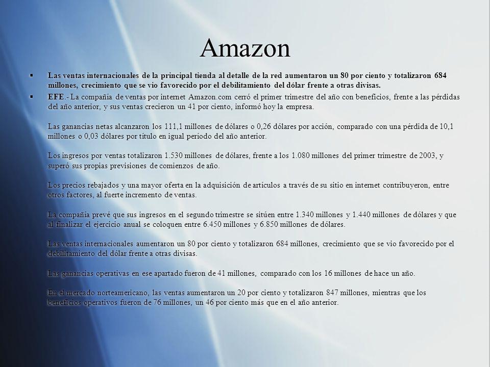 Amazon  Las ventas internacionales de la principal tienda al detalle de la red aumentaron un 80 por ciento y totalizaron 684 millones, crecimiento que se vio favorecido por el debilitamiento del dólar frente a otras divisas.