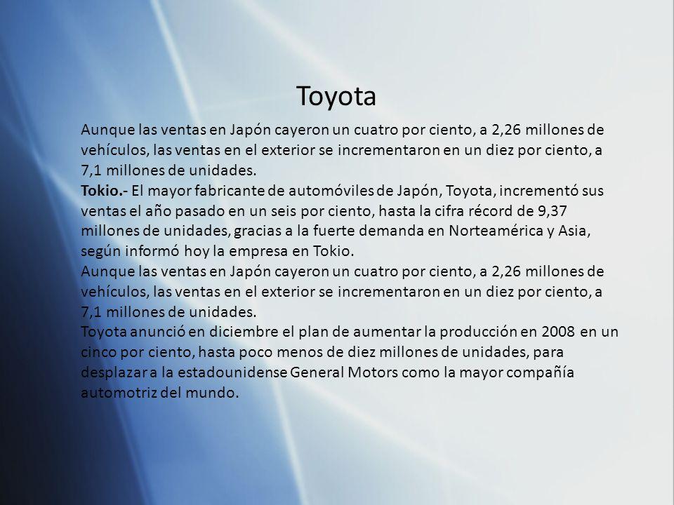 Aunque las ventas en Japón cayeron un cuatro por ciento, a 2,26 millones de vehículos, las ventas en el exterior se incrementaron en un diez por ciento, a 7,1 millones de unidades.