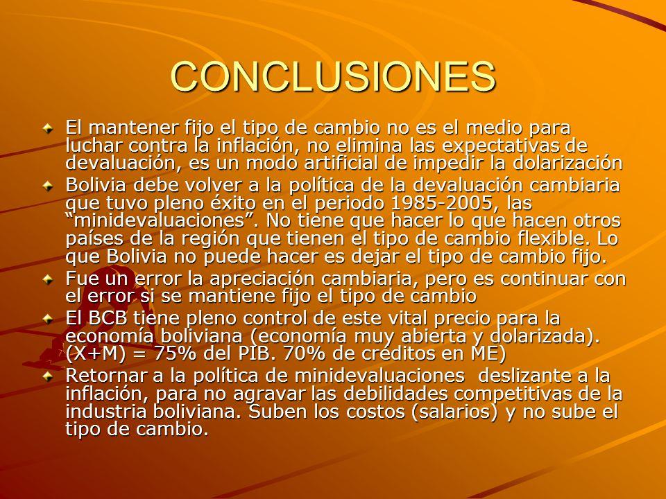 CONCLUSIONES El mantener fijo el tipo de cambio no es el medio para luchar contra la inflación, no elimina las expectativas de devaluación, es un modo artificial de impedir la dolarización Bolivia debe volver a la política de la devaluación cambiaria que tuvo pleno éxito en el periodo 1985-2005, las minidevaluaciones .