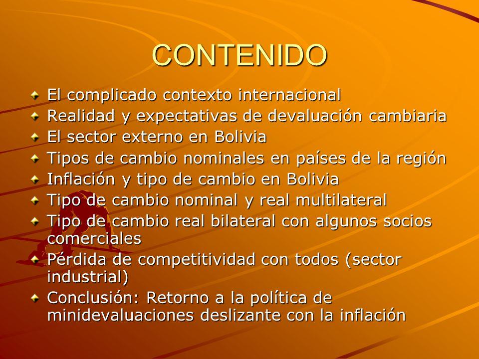 CONTENIDO El complicado contexto internacional Realidad y expectativas de devaluación cambiaria El sector externo en Bolivia Tipos de cambio nominales en países de la región Inflación y tipo de cambio en Bolivia Tipo de cambio nominal y real multilateral Tipo de cambio real bilateral con algunos socios comerciales Pérdida de competitividad con todos (sector industrial) Conclusión: Retorno a la política de minidevaluaciones deslizante con la inflación