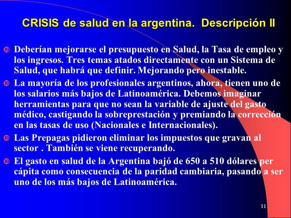 11 CRISIS de salud en la argentina.