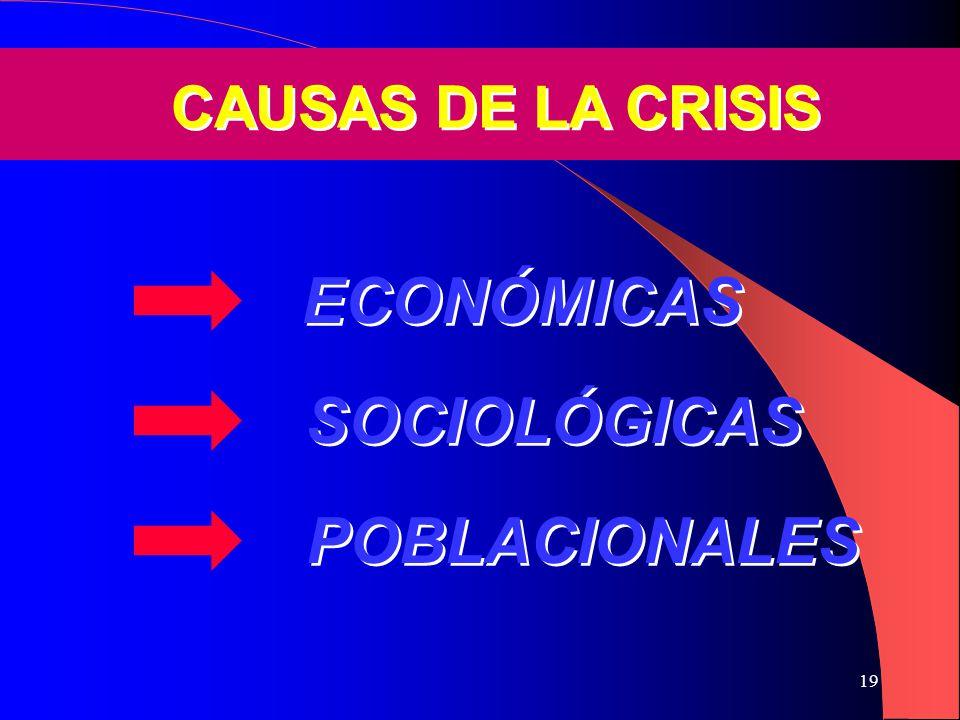 19 POBLACIONALES SOCIOLÓGICAS ECONÓMICAS CAUSAS DE LA CRISIS