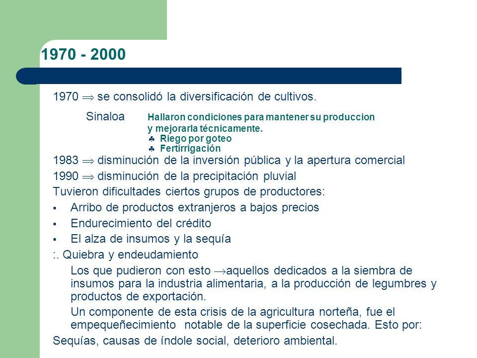 1930 -1970 La intervención estatal – centrada en la ampliación de la superficie irrigada (zonas abiertas y nuevas).