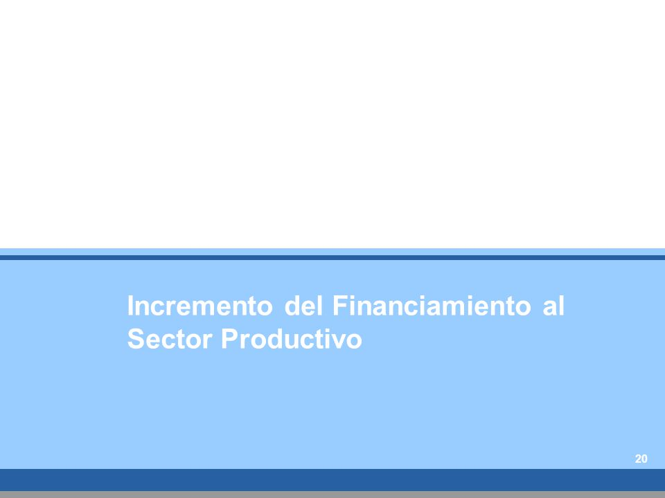 Incremento del Financiamiento al Sector Productivo 20