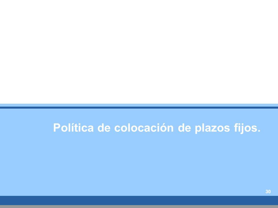 Política de colocación de plazos fijos. 30