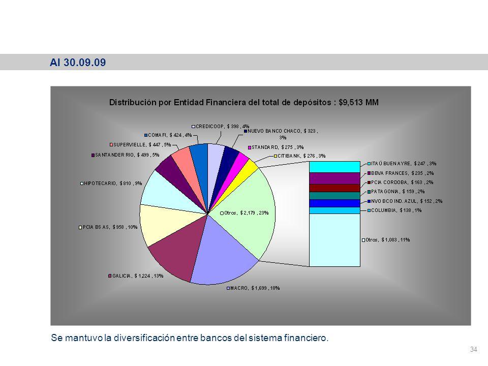 Depósitos Participación por Entidad Financiera 34 Al 30.09.09 Se mantuvo la diversificación entre bancos del sistema financiero.