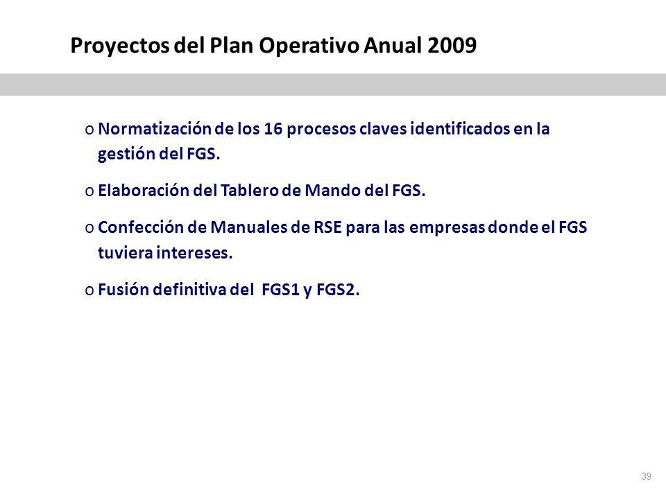 39 Proyectos del Plan Operativo Anual 2009 oNormatización de los 16 procesos claves identificados en la gestión del FGS.