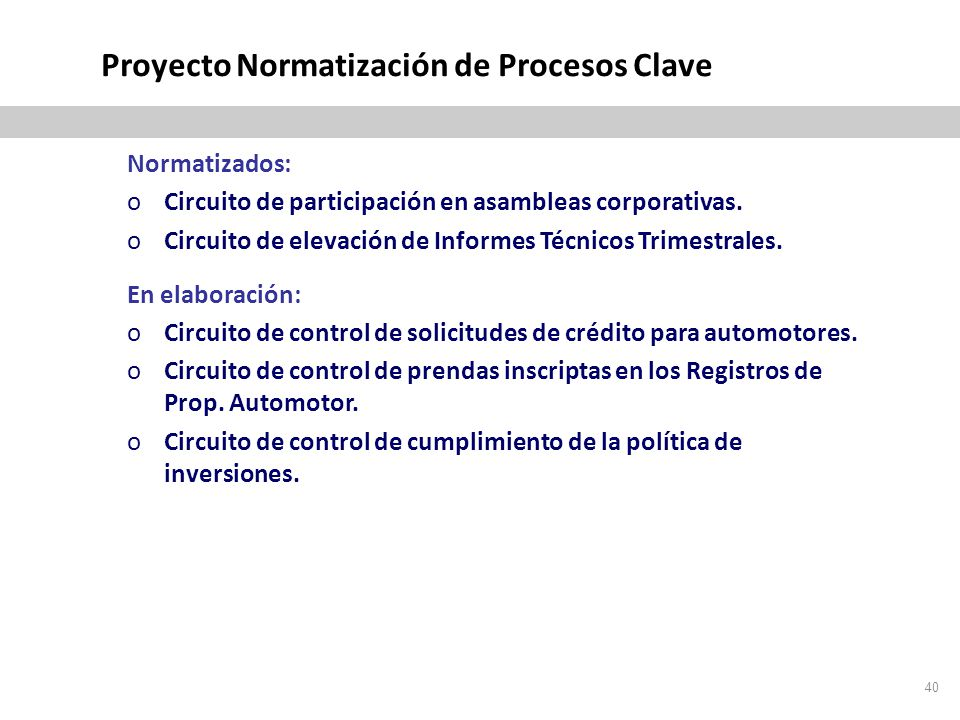 Proyecto Normatización de Procesos Clave Normatizados: oCircuito de participación en asambleas corporativas.