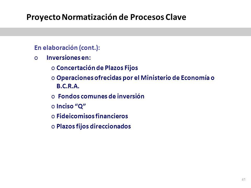 Proyecto Normatización de Procesos Clave En elaboración (cont.): oInversiones en: oConcertación de Plazos Fijos oOperaciones ofrecidas por el Ministerio de Economía o B.C.R.A.