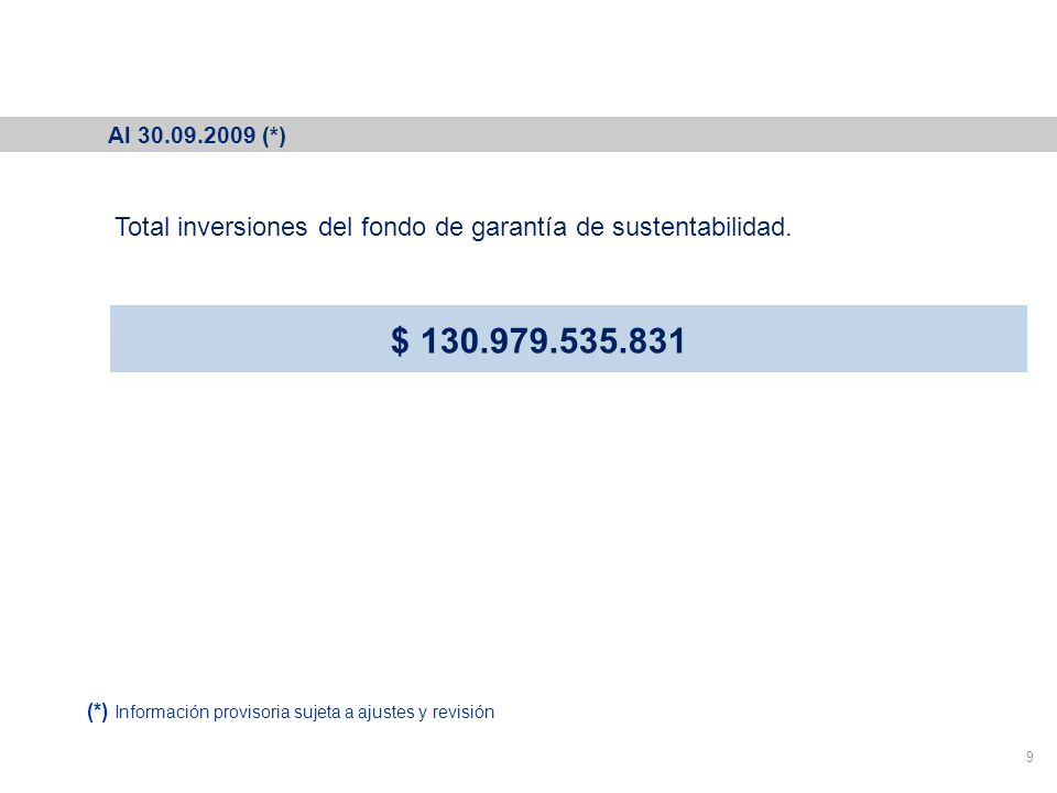 Cartera del Fondo de Garantía de Sustentabilidad 9 Total inversiones del fondo de garantía de sustentabilidad.