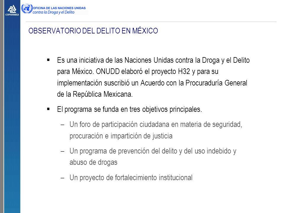 OBSERVATORIO DEL DELITO EN MÉXICO  Es una iniciativa de las Naciones Unidas contra la Droga y el Delito para México.