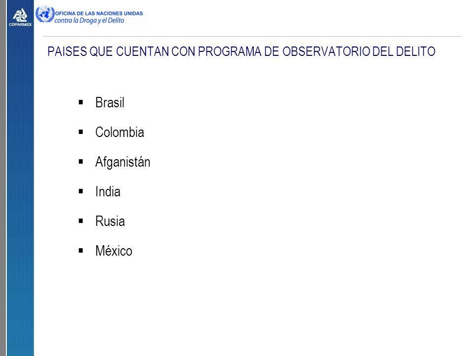 PAISES QUE CUENTAN CON PROGRAMA DE OBSERVATORIO DEL DELITO  Brasil  Colombia  Afganistán  India  Rusia  México