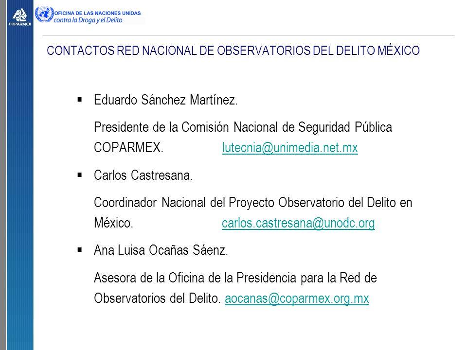 CONTACTOS RED NACIONAL DE OBSERVATORIOS DEL DELITO MÉXICO  Eduardo Sánchez Martínez.