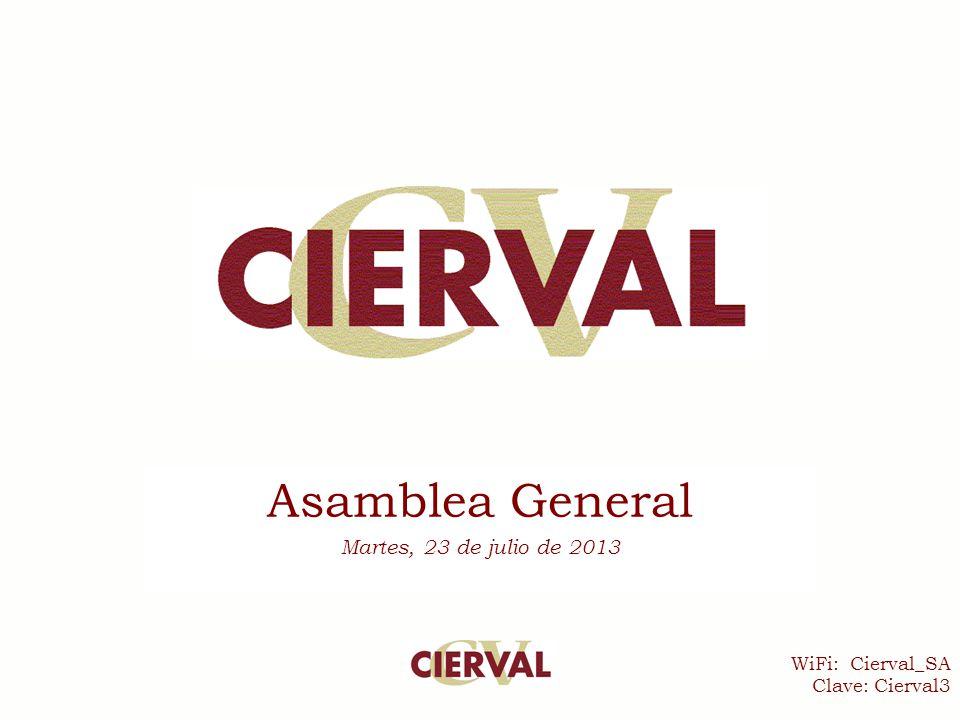 WiFi: Cierval_SA Clave: Cierval3 Asamblea General Martes, 23 de julio de 2013