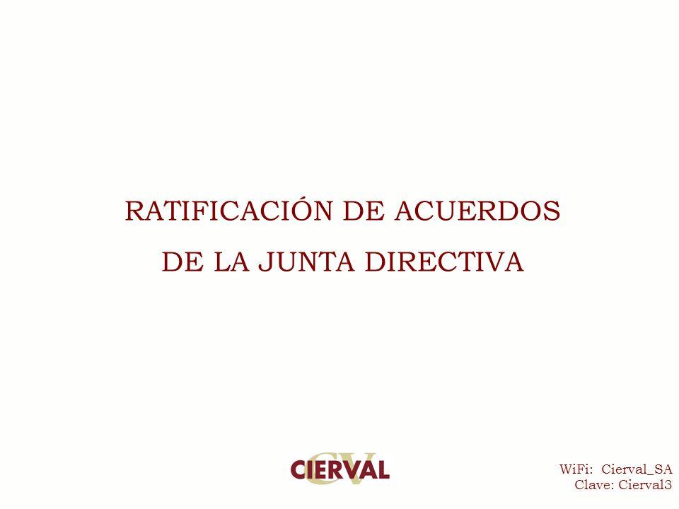WiFi: Cierval_SA Clave: Cierval3 RATIFICACIÓN DE ACUERDOS DE LA JUNTA DIRECTIVA