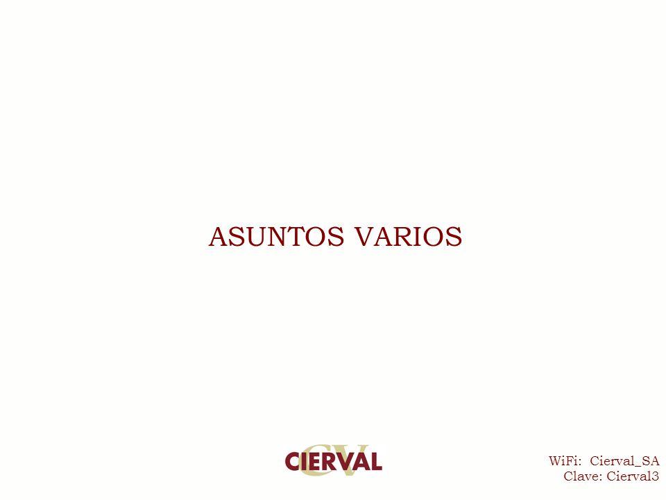 WiFi: Cierval_SA Clave: Cierval3 ASUNTOS VARIOS