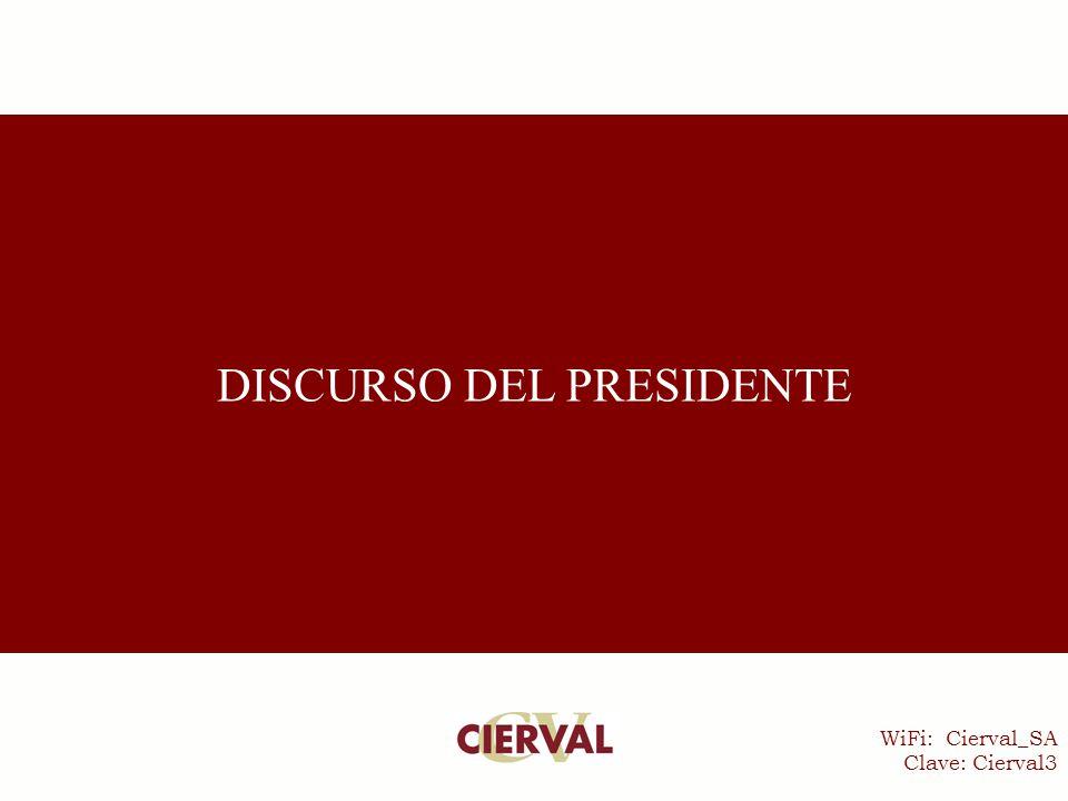 WiFi: Cierval_SA Clave: Cierval3 DISCURSO DEL PRESIDENTE