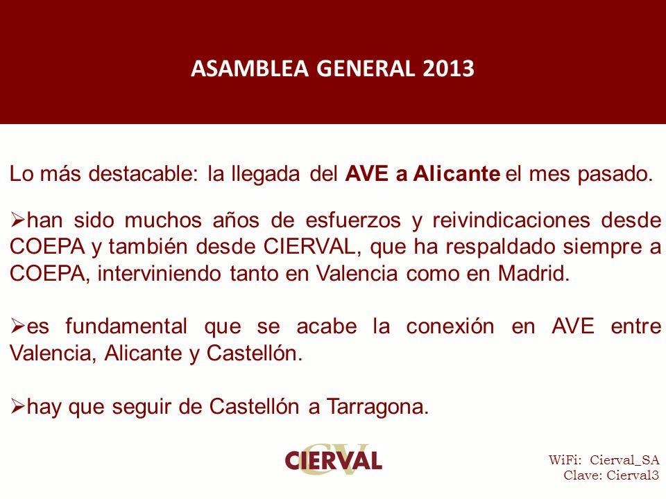 WiFi: Cierval_SA Clave: Cierval3 Lo más destacable: la llegada del AVE a Alicante el mes pasado.