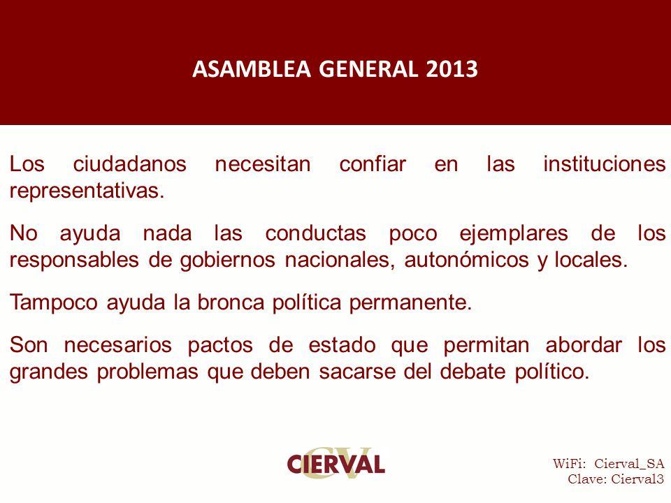 WiFi: Cierval_SA Clave: Cierval3 Los ciudadanos necesitan confiar en las instituciones representativas.