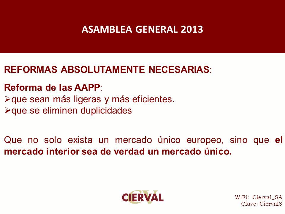 WiFi: Cierval_SA Clave: Cierval3 REFORMAS ABSOLUTAMENTE NECESARIAS: Reforma de las AAPP:  que sean más ligeras y más eficientes.