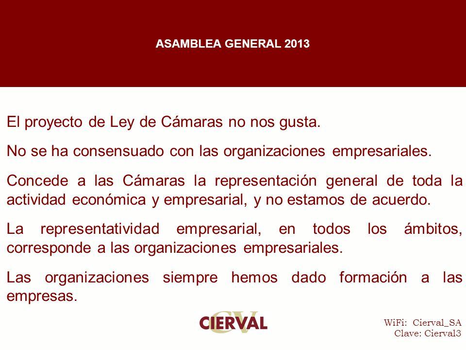 WiFi: Cierval_SA Clave: Cierval3 El proyecto de Ley de Cámaras no nos gusta.