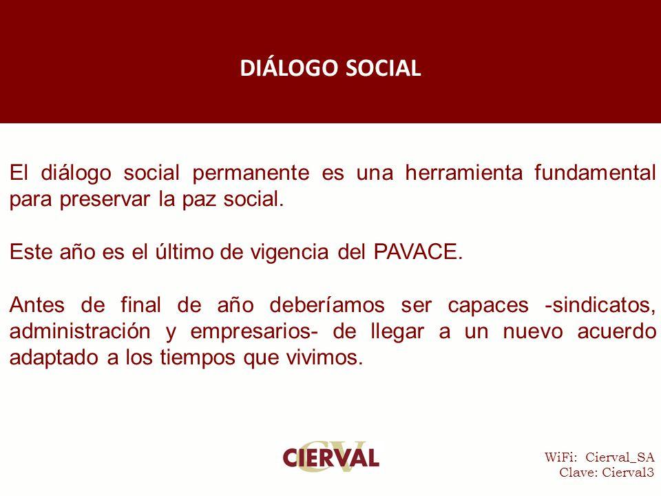WiFi: Cierval_SA Clave: Cierval3 El diálogo social permanente es una herramienta fundamental para preservar la paz social.