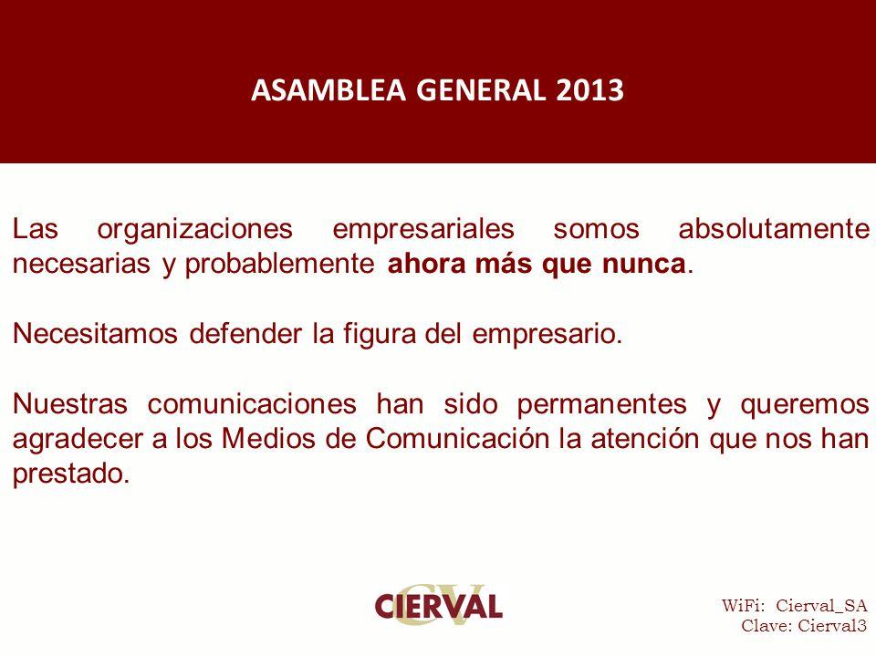 WiFi: Cierval_SA Clave: Cierval3 Las organizaciones empresariales somos absolutamente necesarias y probablemente ahora más que nunca.