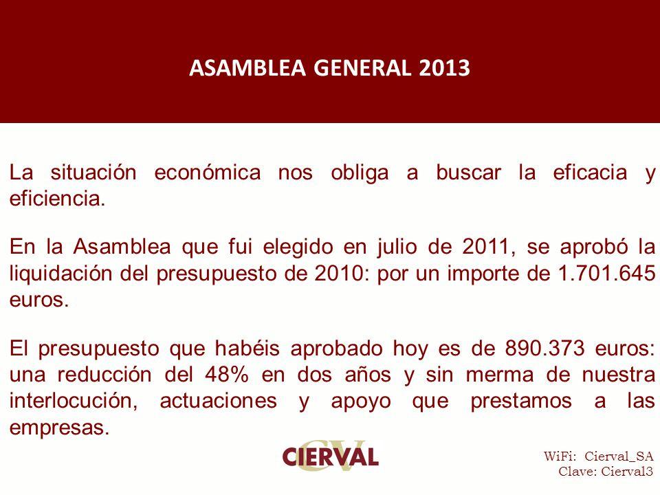 WiFi: Cierval_SA Clave: Cierval3 La situación económica nos obliga a buscar la eficacia y eficiencia.