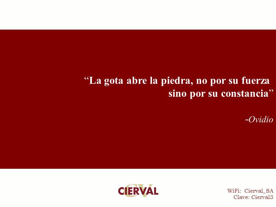 WiFi: Cierval_SA Clave: Cierval3 La gota abre la piedra, no por su fuerza sino por su constancia - Ovidio
